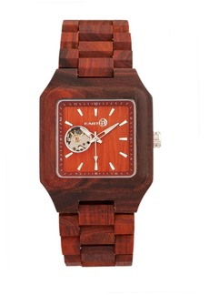 Earth Wood Black Rock Automatic Wood Bracelet Watch Red 42Mm
