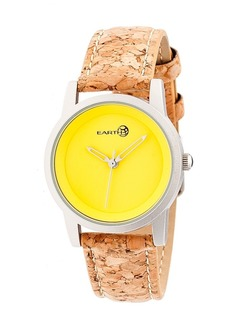 Earth Wood Canopies Leather-Band Watch Silver/Yellow 31Mm