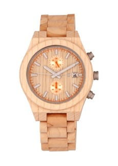 Earth Wood Castillo Wood Bracelet Watch W/Date Khaki 45Mm