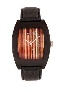 Earth Wood Cedar Leather-Band Watch Brown 40Mm
