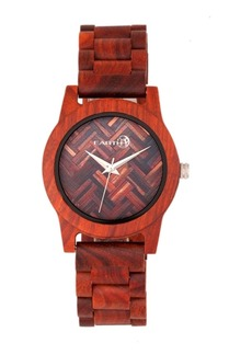 Earth Wood Crown Wood Bracelet Watch Red 41Mm