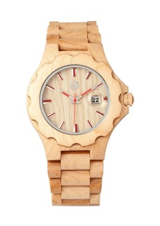 Earth Wood Gila Wood Bracelet Watch W/Magnified Date Khaki 43Mm