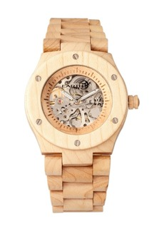Earth Wood Grand Mesa Automatic Skeleton Wood Bracelet Watch Khaki 44Mm