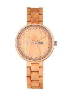 Earth Wood Mimosa Wood Bracelet Watch W/Day/Date Khaki-Tan 39Mm