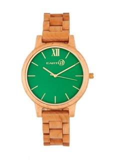 Earth Wood Pike Wood Bracelet Watch Khaki-Tan 45Mm
