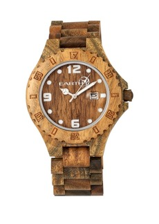 Earth Wood Raywood Wood Bracelet Watch W/Date Olive 47Mm