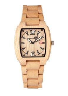 Earth Wood Sagano Wood Bracelet Watch W/Date Khaki 42Mm