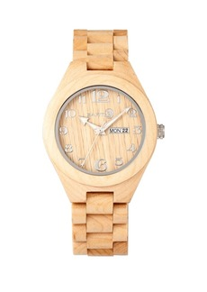 Earth Wood Sapwood Wood Bracelet Watch W/Date Khaki 41Mm