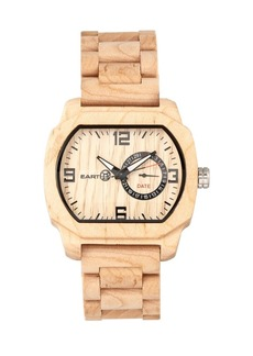 Earth Wood Scaly Wood Bracelet Watch W/Date Khaki 46Mm