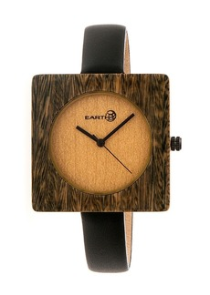 Earth Wood Teton Leather-Band Watch Olive 38Mm