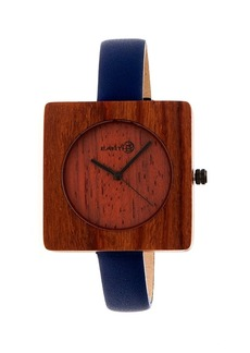 Earth Wood Teton Leather-Band Watch Red 38Mm