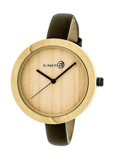 Earth Wood Yosemite Leather-Band Watch Khaki 39Mm