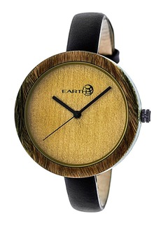 Earth Wood Yosemite Leather-Band Watch Olive 39Mm