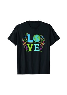 Love Earth Save The Planet Vintage Floral Earth Day Clothes T-Shirt