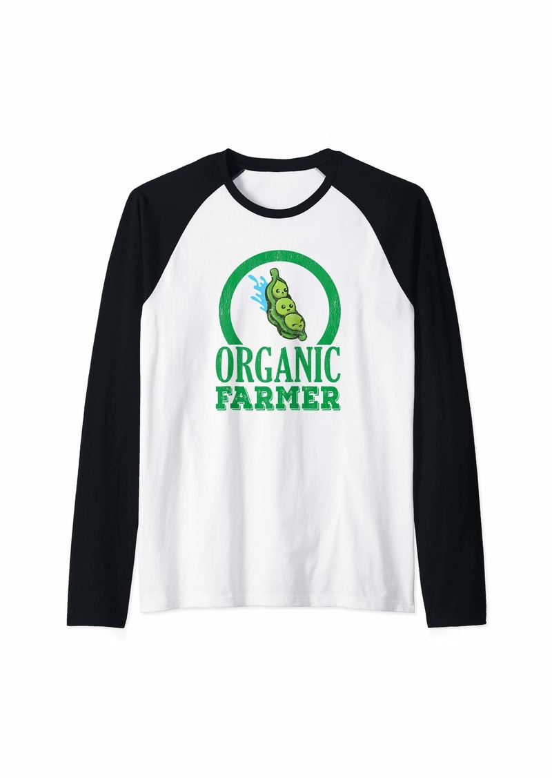 Earth Organic Farmer Seeds Distressed Farm Gardening Gardener Gift Raglan Baseball Tee