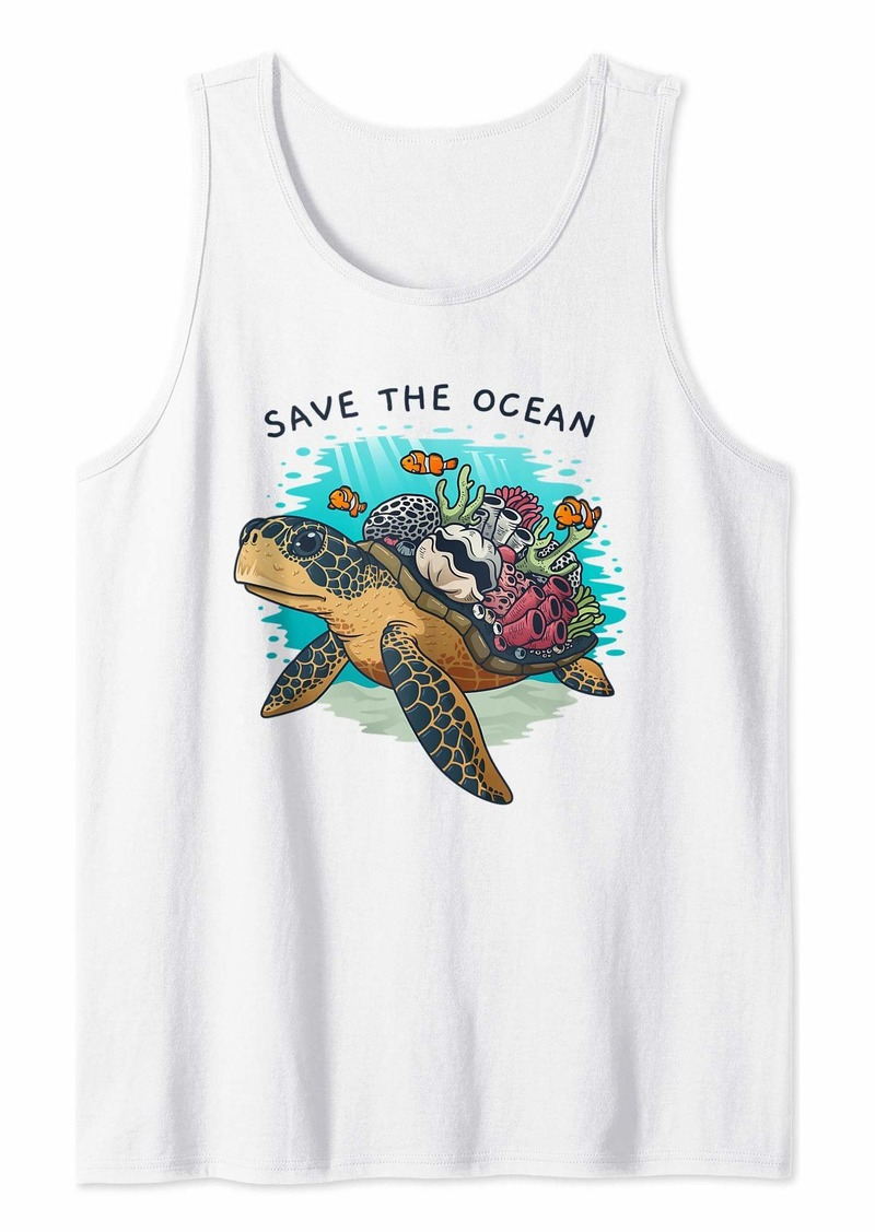 Earth Save The Ocean Sea Turtle Coral Reef Environmental Gift Tank Top