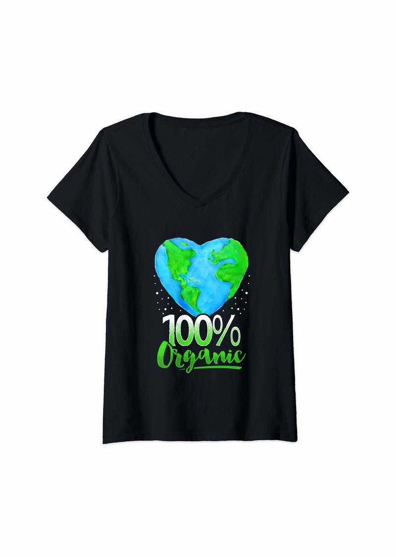 Womens 100% Organic Earth Day Gift  V-Neck T-Shirt