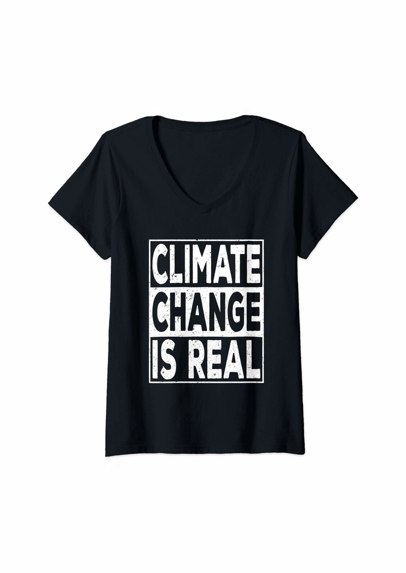 Womens Climate Change Is Real Global Strike Earth Day V-Neck T-Shirt