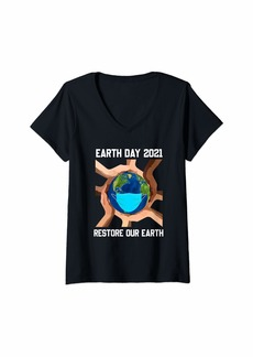 Womens Earth Day 2021 Restore Our Earth Wearing Mask V-Neck T-Shirt