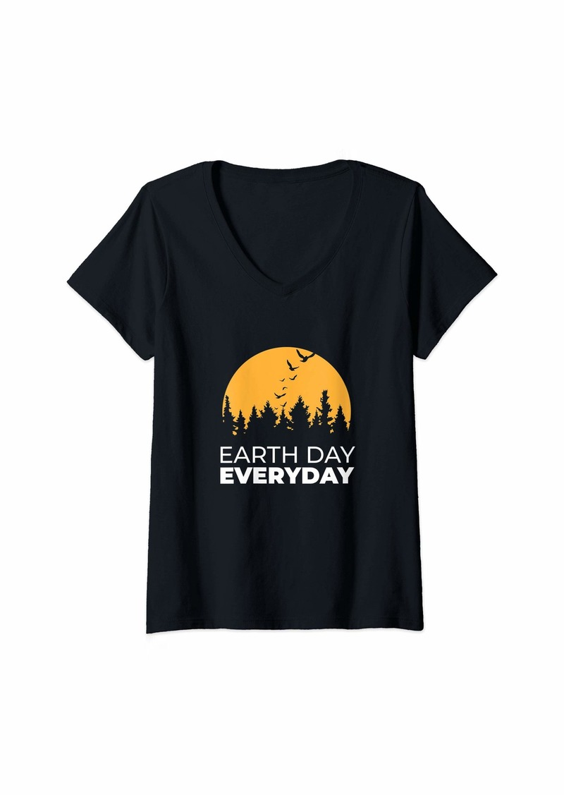 Womens Earth Day Everyday Gift V-Neck T-Shirt