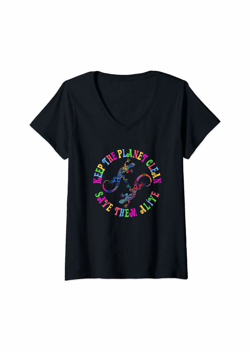 Womens Earth Day Keep The Planet Clean Lizards  V-Neck T-Shirt