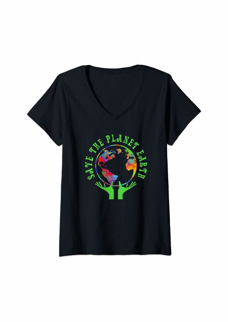 Womens Earth Day Save The Planet Earth  V-Neck T-Shirt