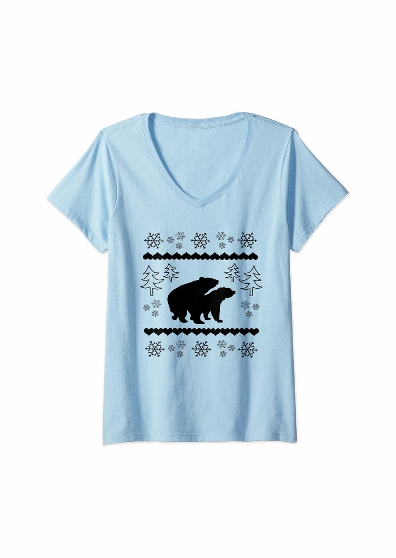 Earth Womens Funny Black Mating Bears In The Forest Christmas Animal V-Neck T-Shirt