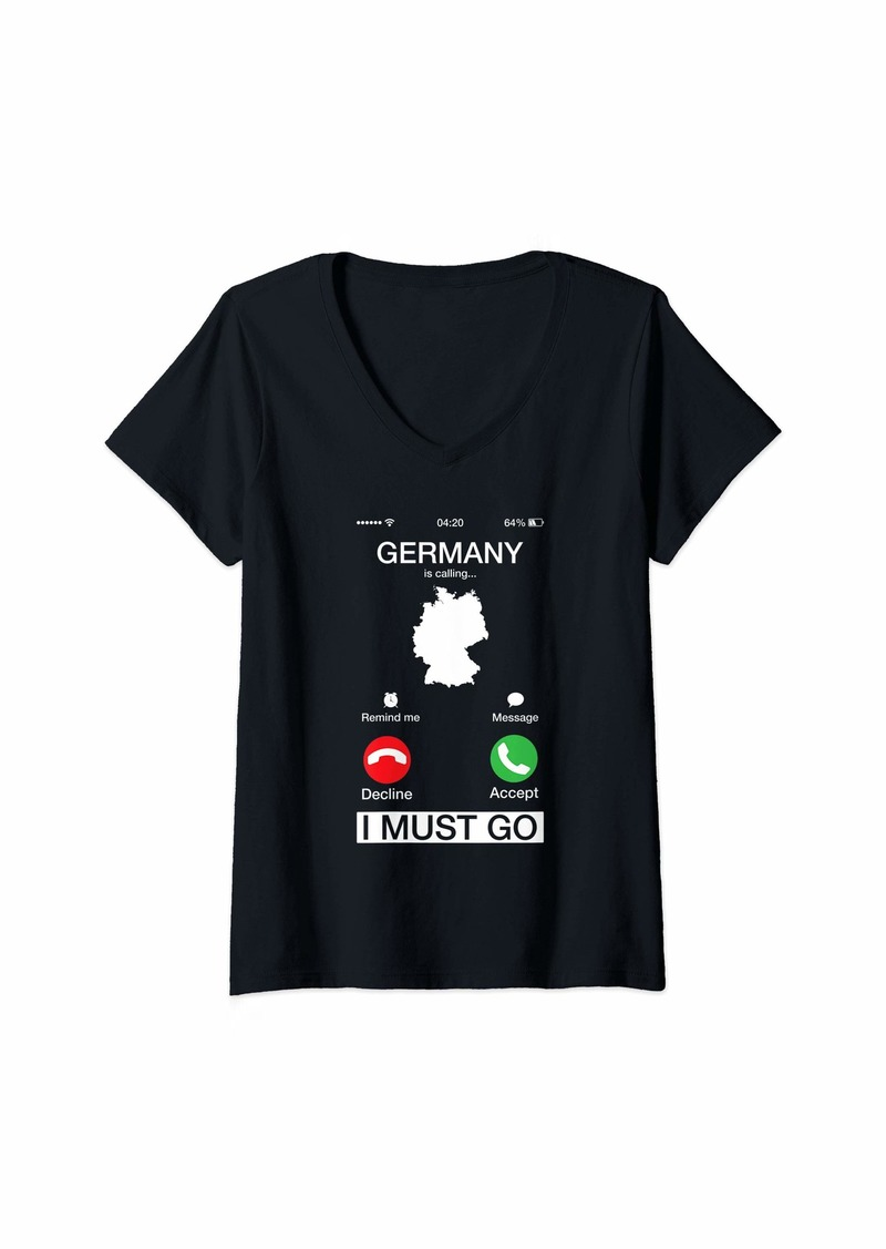 Earth Womens Germany Is Calling And I Must Go Funny Phone Screen Gift V-Neck T-Shirt