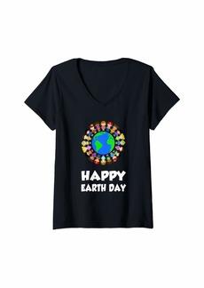 Womens Happy Earth Day Children Around The World Cute Gift V-Neck T-Shirt