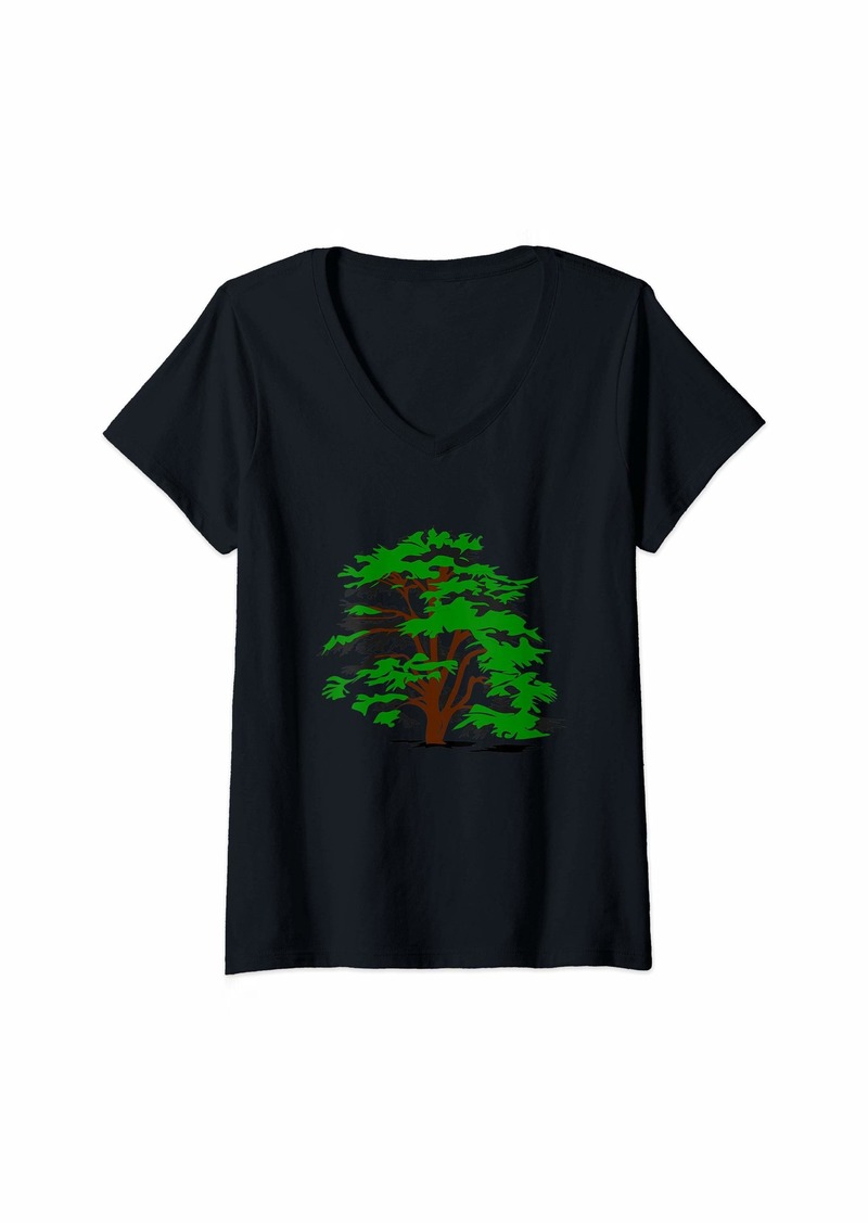 Earth Womens I love Trees V-Neck T-Shirt