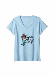 Earth Womens Keep the Sea Plastic Free Mermaid Awesome V-Neck T-Shirt