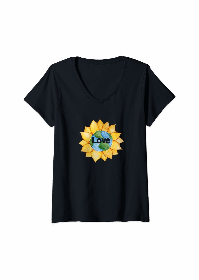 Womens Love Earth Sunflower  V-Neck T-Shirt