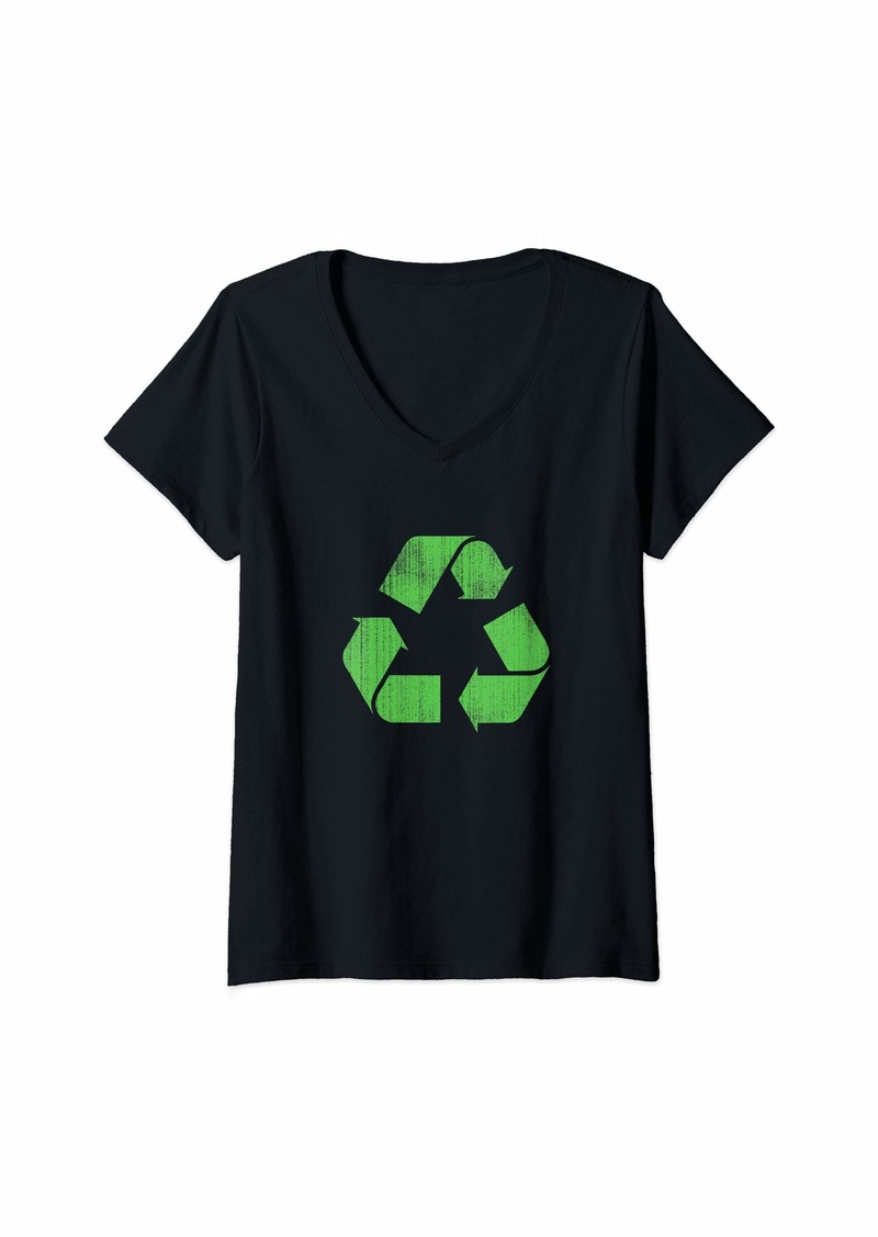 Womens Recycle Sign Earth Day Cool  V-Neck T-Shirt