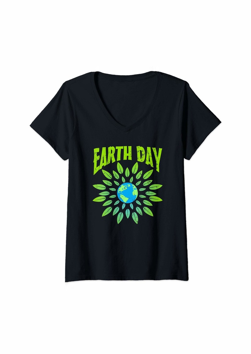 Womens Reuse Reduce Recycle Earth Day Globe  V-Neck T-Shirt