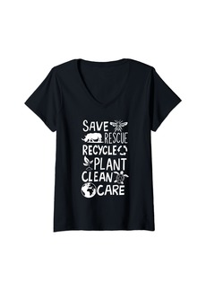 Womens Save Bees Rescue Rhinos Recycle Plastic Clean Care Earth Day V-Neck T-Shirt
