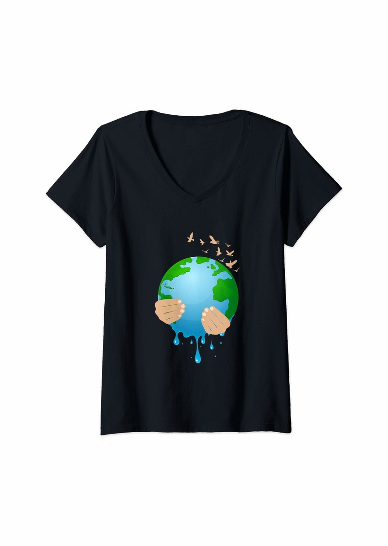 Womens Sick Melting Mother Earth Environmental Awareness V-Neck T-Shirt
