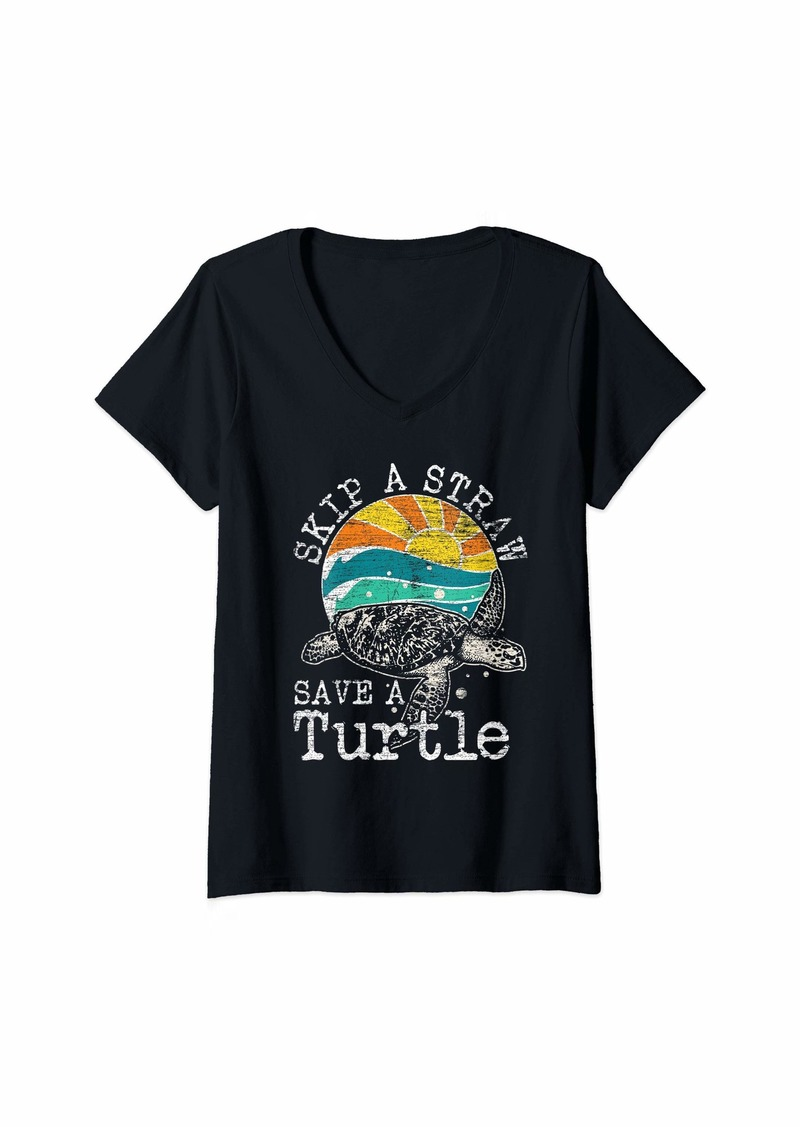 Earth Womens Skip A Straw Save A Turtle V-Neck T-Shirt