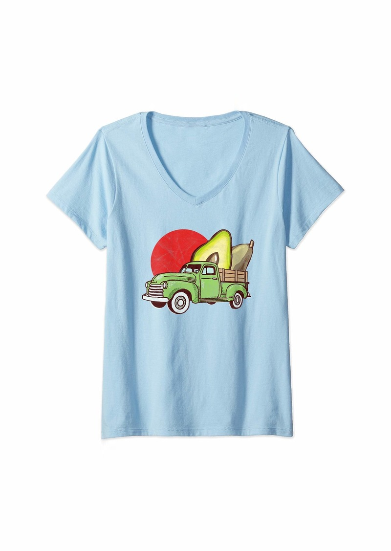 Earth Womens Sweet Retro Farm Truck Vintage Avocado Lover Graphic  V-Neck T-Shirt