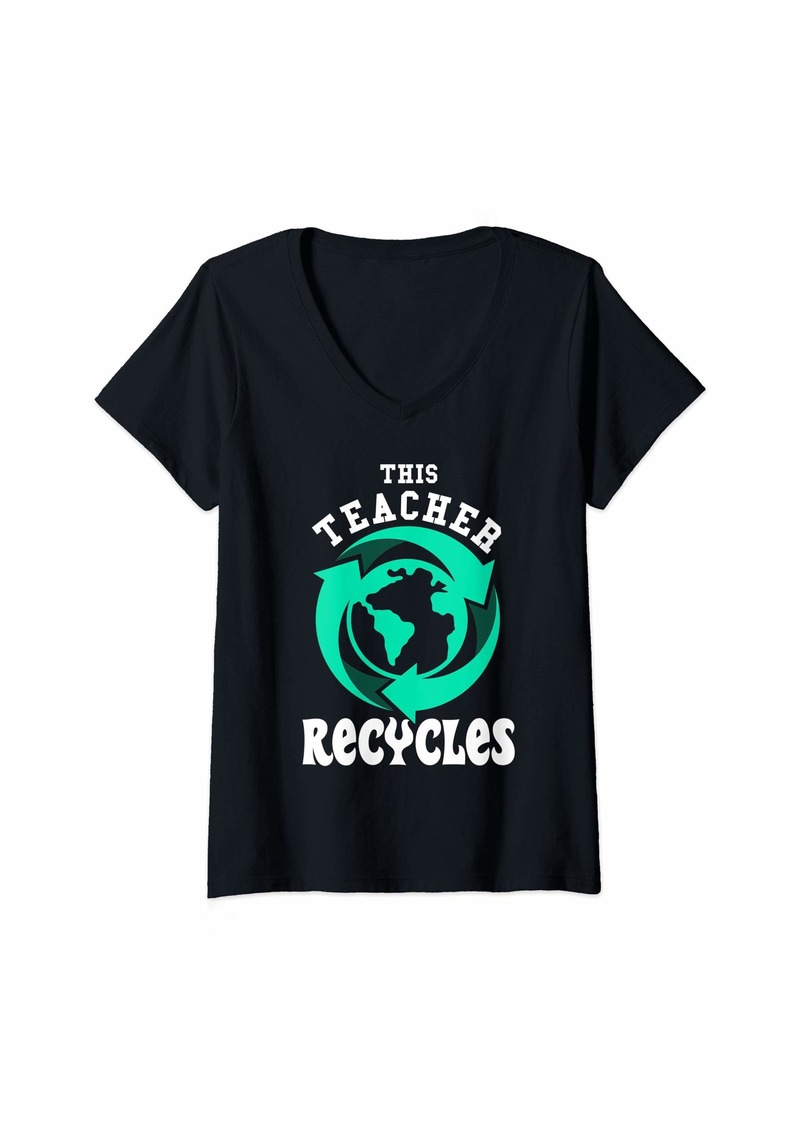 Womens Teacher Earth Day Gift Recycle Save The Planet V-Neck T-Shirt