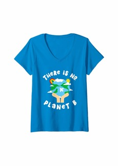 Womens There is No Planet B Earth Day Conservation Global Warming V-Neck T-Shirt