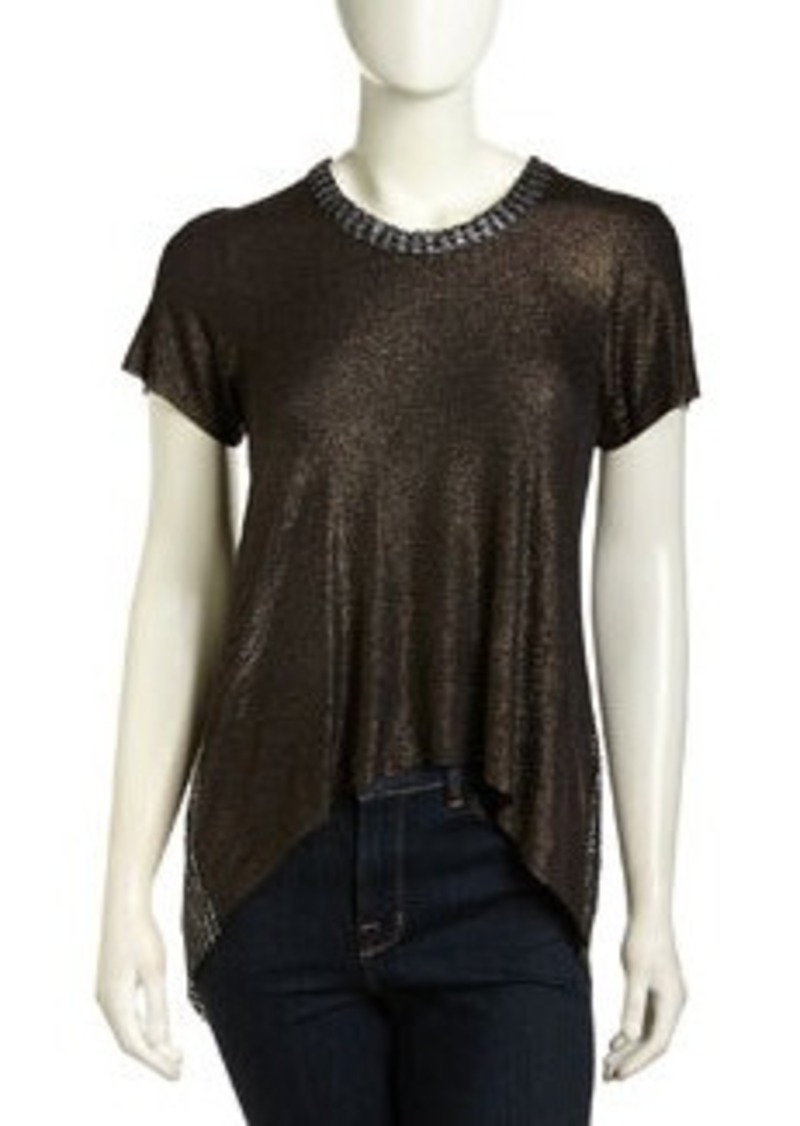 T-Bags T Bags High-Low Mesh-Back Shimmer Top, Black Foil