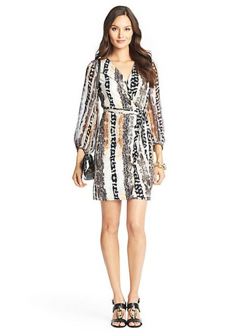 Diane Von Furstenberg Sigourney Sheer Sleeved Silk Jersey Wrap Dress