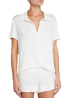 Eberjey Agnes Boyfriend Lounge Polo Top