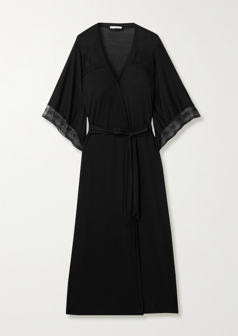 Eberjey Antoinette Lace-paneled Stretch-modal Robe
