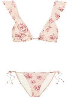 Eberjey Flying Lotus ruffled floral-print triangle bikini