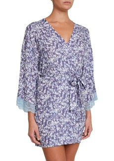 Eberjey Lily Silk-Blend Short Robe