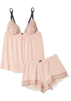 Eberjey Rosario corded lace-trimmed stretch-modal jersey pajama set