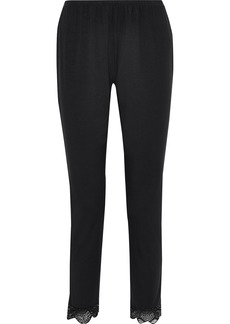 Eberjey Woman Agatha Lace-trimmed Stretch-modal Pajama Pants Black