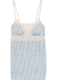 Eberjey Woman Lace-trimmed Printed Stretch-modal Jersey Camisole Blue