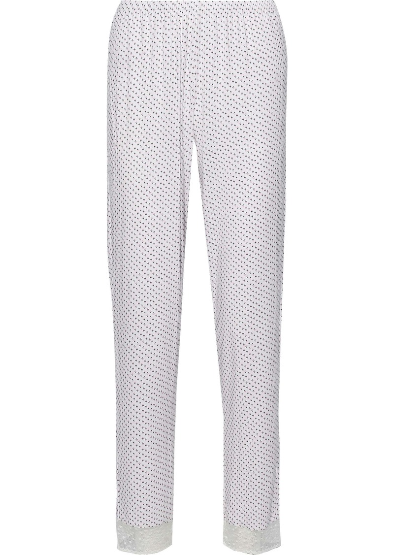 Eberjey Woman Flora Ditsy The Slim Lace-trimmed Printed Stretch-modal Pajama Pants Ivory